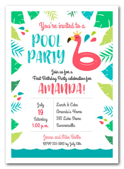 Flamingo Float Pool Party Birthday Invitations | Come see all our party invitations for all occasions