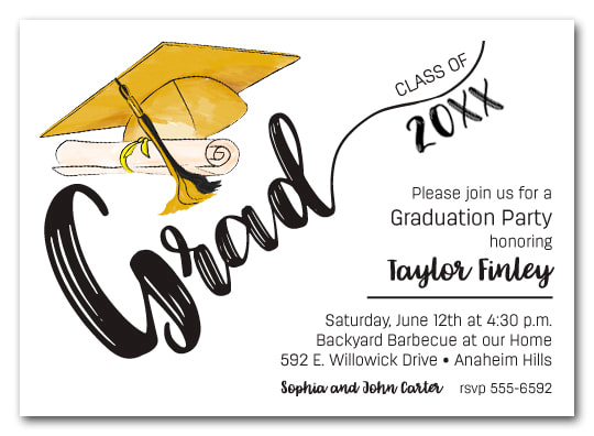 Gold & Black Tassel on Black Cap Graduation Party Invitations or Announcements for high school, college or middle school graduation party invitations