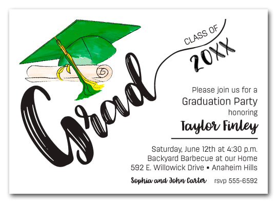 Green & Yellow Tassel on Black Cap Graduation Party Invitations or Announcements for high school, college or middle school graduation party invitations