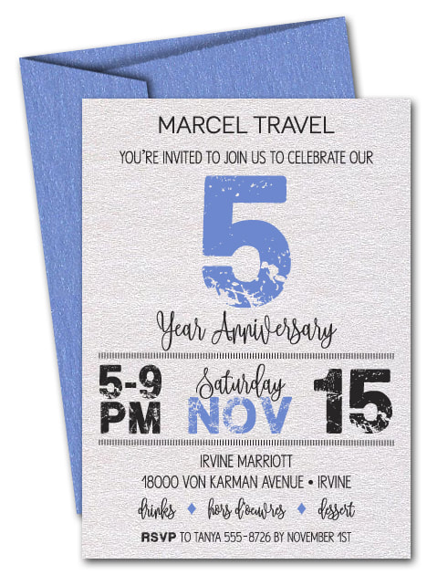 Grunge Blue Business Shimmery Anniversary Invitations - LOTS OF COLORS AVAILABLE - Change the year to ANY YEAR!