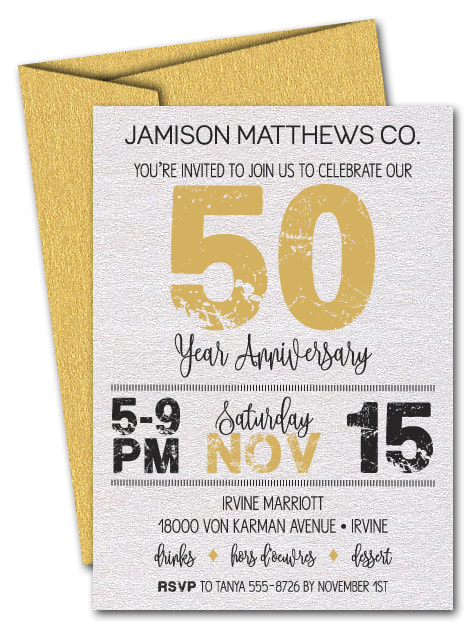 Grunge Gold Business Shimmery Anniversary Invitations - LOTS OF COLORS AVAILABLE - Change the year to ANY YEAR!