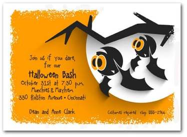 Hanging Bats Halloween Party Invitations