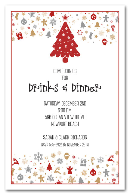 Holiday Elements Christmas Party Invitations