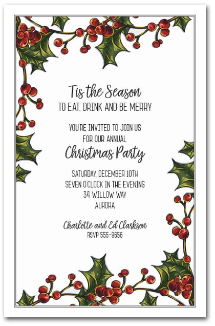 Holly Berry Garland Holiday Party Invitations