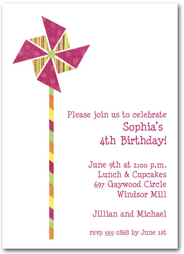 Hot Pink & Stripes Pinwheel Party Invitations (also available in teal blue) | Shop all our summer themed Party Invitations!