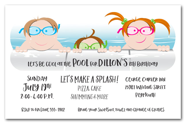 Kids in the Pool Party Invitations from TheInvitationShop.com