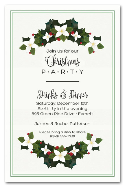 Magnolia Holiday Swags Christmas Party Invitations