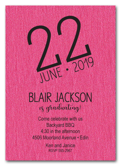 Modern Date Shimmery Graduation Party Invitations - LOTS OF COLORS to choose from!