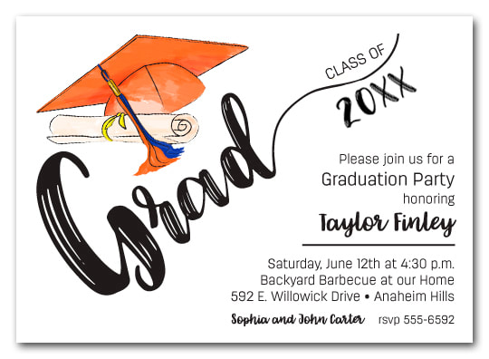 Orange & Blue Tassel on Black Cap Graduation Party Invitations or Announcements for high school, college or middle school graduation party invitations