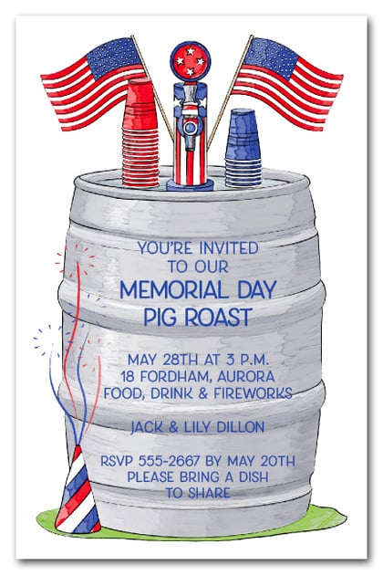 Beer Keg Memorial Day Party Invitations | Come see our entire collection!