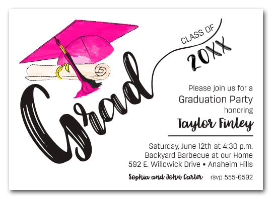 Hot Pink & Black Tassel on Black Cap Graduation Party Invitations or Announcements for high school, college or middle school graduation party invitations