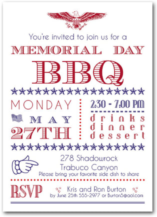 Memorial Day BBQ Party Invitations from TheInvitationShop.com