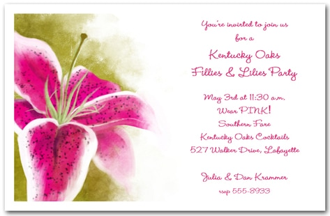 Kentucky Oaks Lily Party Invitations from TheInvitationShop.com