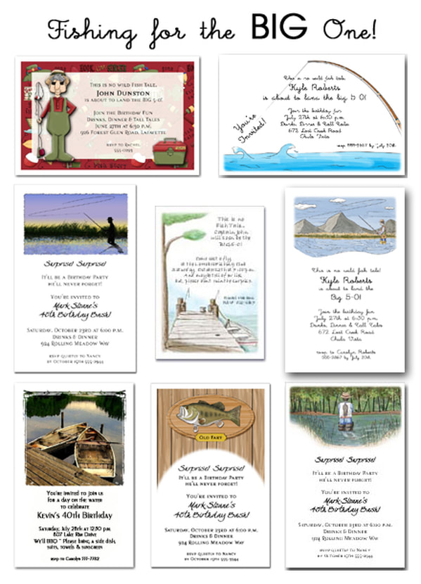 Fishing for the Big One!  Fishing Themed Party Invitations from TheInvitationShop.com