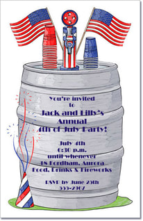 Red, White & Blue Keg Invitations from TheInvitationShop.com