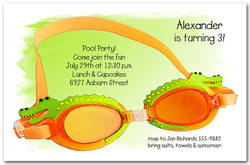 Gator Swim Goggles Kids Birthday Party Invitations from TheInvitationShop.com