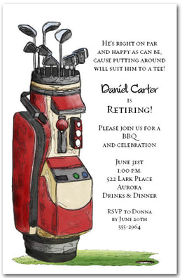 Red Golf Bag Party Invitations from TheInvitationShop.com