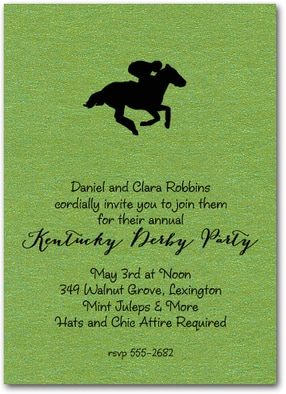 Racing Horse on Shimmery Green Invitations