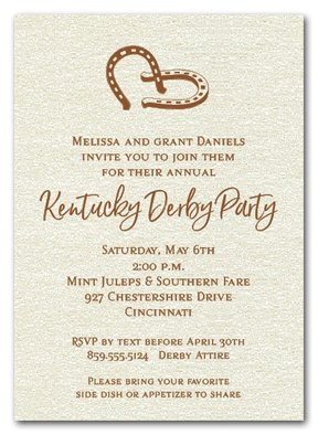 Double Horseshoes on Shimmery Quartz White Paper Kentucky Derby Party Invitations from TheInvitationShop.com