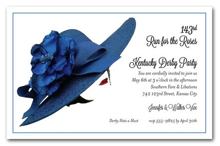 Floral Blue Derby Hat Kentucky Derby Party Invitations