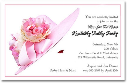 Floral Pink Derby Hat Kentucky Derby Party Invitations from TheInvitationShop.com