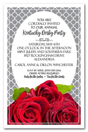 Fresh Red Roses Kentucky Derby Party Invitations