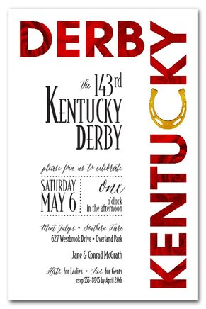 Roses and Horseshoe Kentucky Derby Party Invitations from TheInvitationShop.com