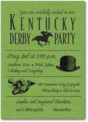Shimmery Green Derby Day Party Invitations - Come see our entire collection