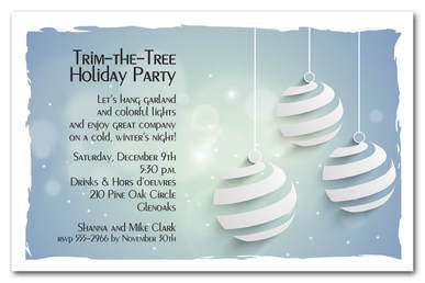 Swirled Ornaments on Blue Holiday Party Invitations