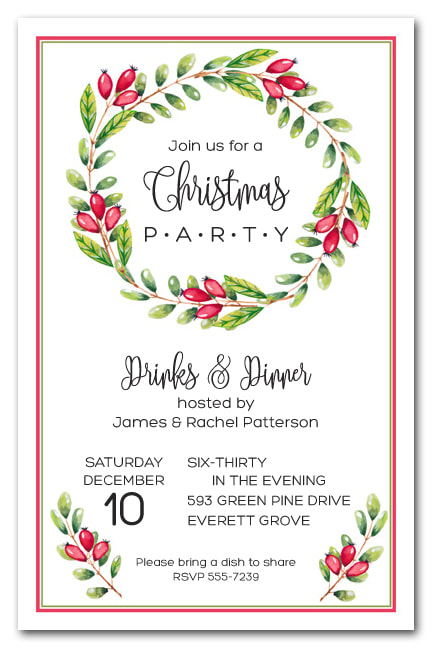 Red Berries Vine Wreath Holiday Party Invitations