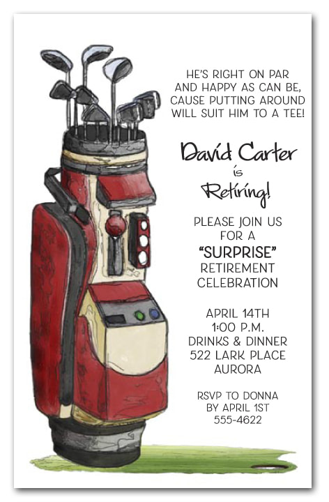 Retirement Party Invitations - We love this golf theme retirement party invitation, but we have lots of themes available your guest of honor will love.
