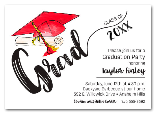 Red & Gold Tassel on Black Cap Graduation Party Invitations or Announcements for high school, college or middle school graduation party invitations
