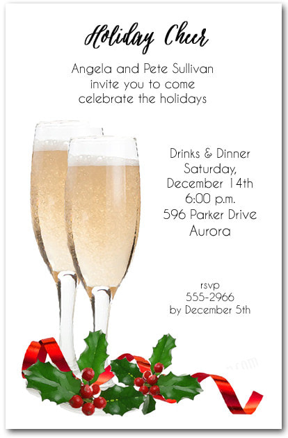 Red Ribbon Champagne Toast Holiday Invitations