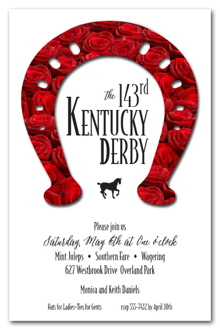 Rose Covered Horseshoe Kentucky Derby Party Invitations - Come see our entire collection!