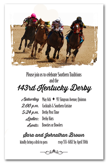 Round the Curve Kentucky Derby Party Invitations from TheInvitationShop.com