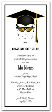 Shades & Black Cap Boy Graduation Party Invitations