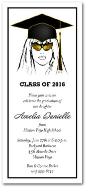 Shades & Black Cap Girl Graduation Party Invitations