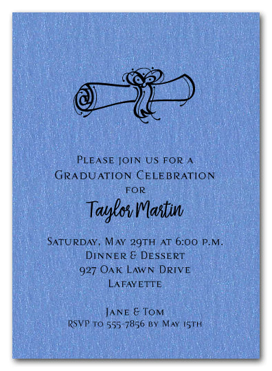 Diploma Graduation Invitations and Announcements  on Shimmery Paper with Matching Envelopes - Available in several colors from TheInvitationShop.com