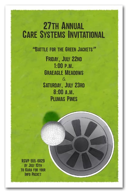 Golf themed party invitations for corporate events, retirement party, bachelor party, birthday party invitations and more. Just change the wording!