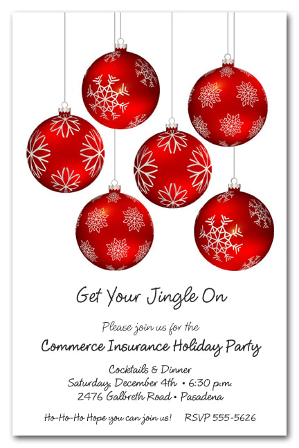 Snowflakes on Red Ornaments Holiday Invitations