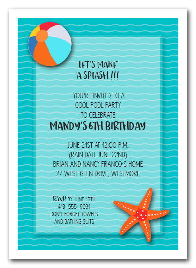 Splish Splash Waves Swim Party Invitations | Come see all our party invitations for all occasions