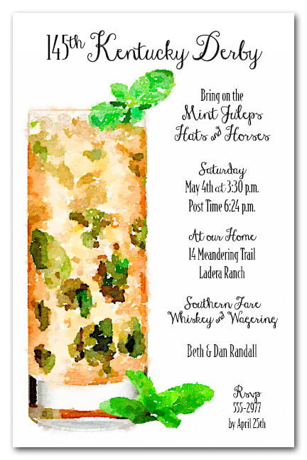Tall Mint Julep Kentucky Derby Party Invitations - Come see our entire collection
