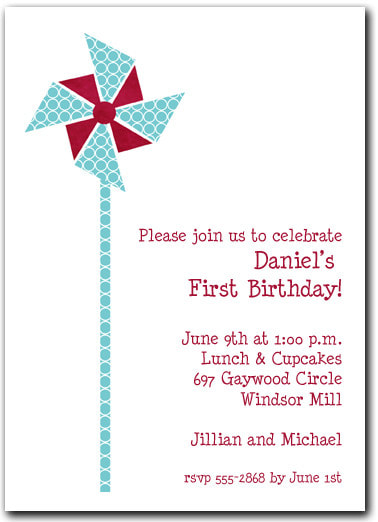 Teal Circles & Red Pinwheel Party Invitations (also available in Hot Pink) | Shop all our Summer Party Invitations!
