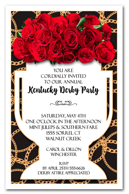 Vase of Roses on Black Kentucky Derby Invitations - Come see our entire collection
