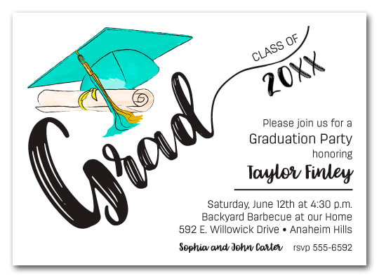 Turquoise & Gold Tassel on Black Cap Graduation Party Invitations or Announcements for high school, college or middle school graduation party invitations