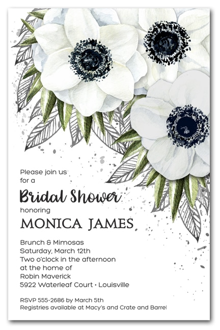 White Anemone Bridal Shower Invitations