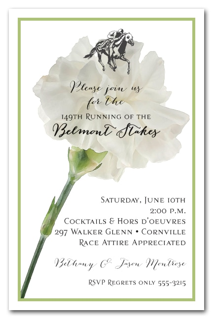 White Carnation Belmont Stakes Party Invitations - come see our entire collection!