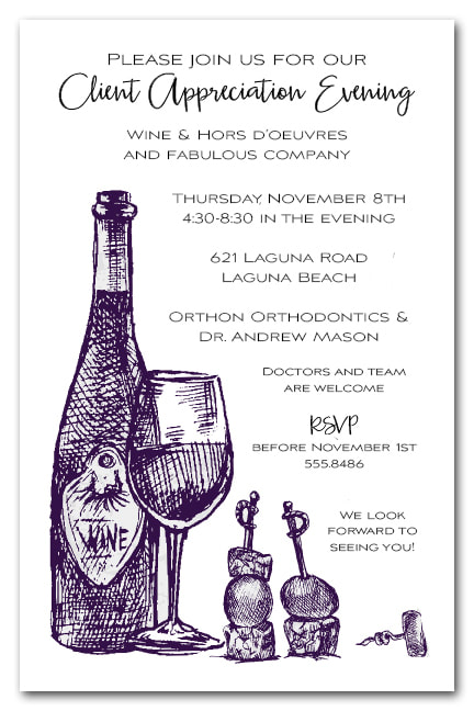 Wine, Cheese & Hors d'oeuvres Party Invitations