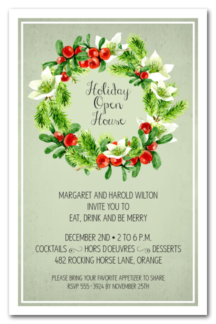 Wreath on Sage Holiday Party Invitations
