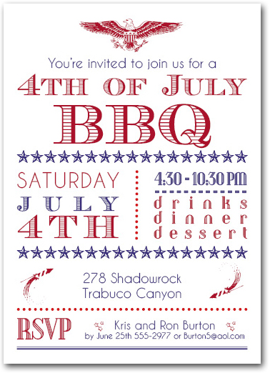 Shop Patriotic Party Invitations for Memorial Day and 4th of July from TheInvitationShop.com